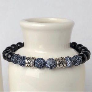 MENS   Onyx Volcanic Gemstone Beaded Bracelet